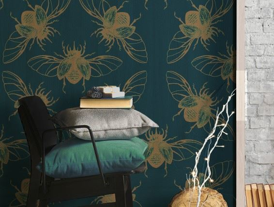 Beetles custom printed wallcovering