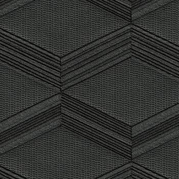 Dark grey slate wallcovering in a cubic geometric design