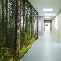 bespoke custom digitally printed textured durable scrubbable antimicrobial wide width fabric backed vinyl wallcovering for healthcare hospital interiors