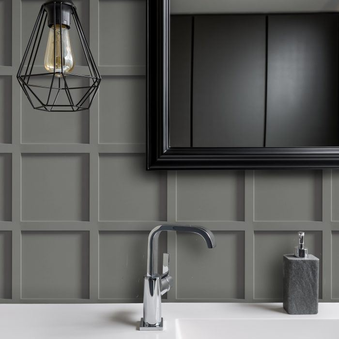 grey contemporary panelling effect wallcovering for commercial interiors in a bathroom