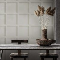 white contemporary panelling effect wallcovering for commercial interiors